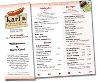Karls Sausage Kitchen Menu